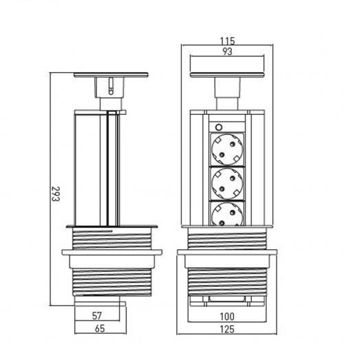 GTV Lighting - Контакт за вграждане в мебел AE-BPW3GS-20 контакт тип шуко 3бр.