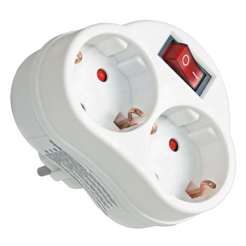 COmmel - Адаптер за контакт бял с ключ 2 х шуко Commel 240-302