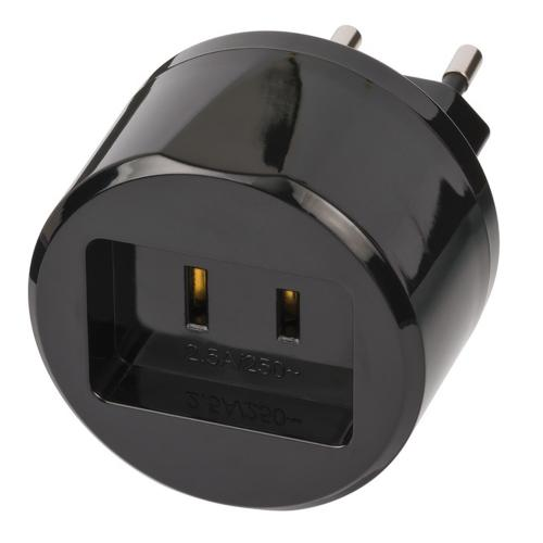 BRENNENSTUHL - Travel Adapter USA => Euro with 2,5A fuse 1508500010