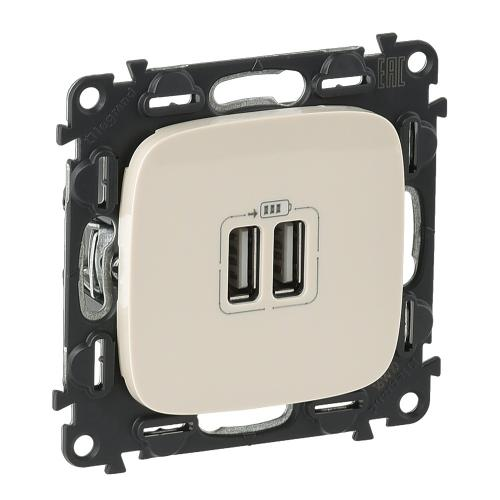 LEGRAND - 754996 Двоен USB контакт 1500мА за зареждане 5V Valena Allure крем /комплект с механизъм/