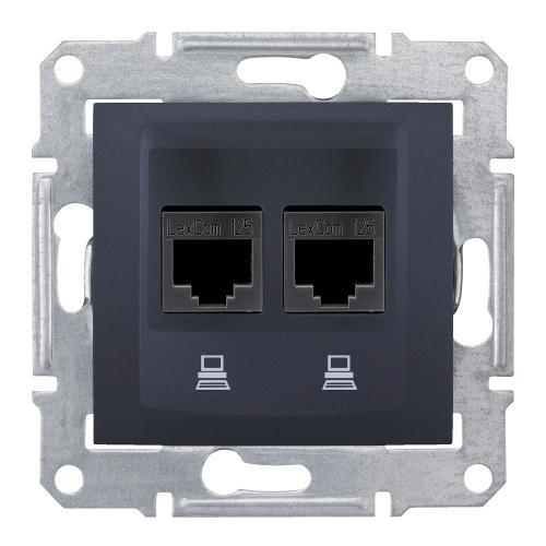 SCHNEIDER ELECTRIC - SDN4800170 Информационна розетка 2xRJ45 кат.6 UTP Sedna, 16А, графит