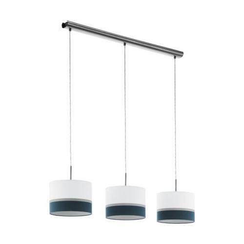 EGLO - Пендел ПЕ 3хE27 никел мат/бяло-синьо-сребърно 'SPALTINI 39555