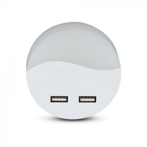 V-TAC PRO - LED Нощна Лампа за Контакт 2xUSB Кръгла със сензор ден/нощ 3000K SKU: 505 , 4000К-506, VT-84