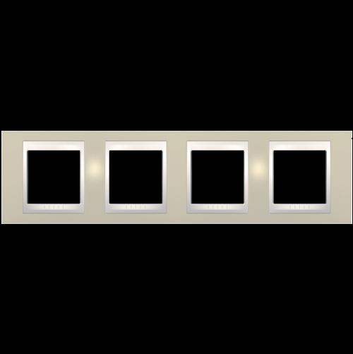 SCHNEIDER ELECTRIC - MGU6.008.567 рамка Unica Plus четворна светло бежов/слонова кост