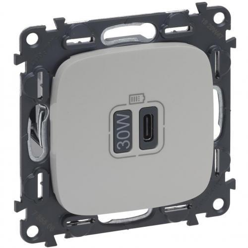 LEGRAND - Розетка USB за зареждане тип C Power Delivery 30W цвят Перла Valena Allure (комплект с механизъм) Legrand 755510