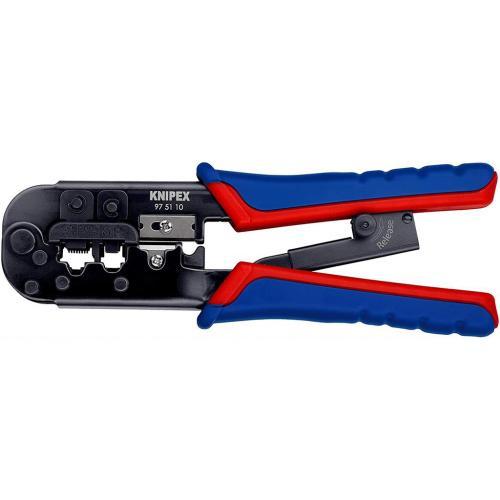 KNIPEX - Клещи за кримпване RJ45 RJ11 с нож за заголване на кръгли и плоски кабели 975110