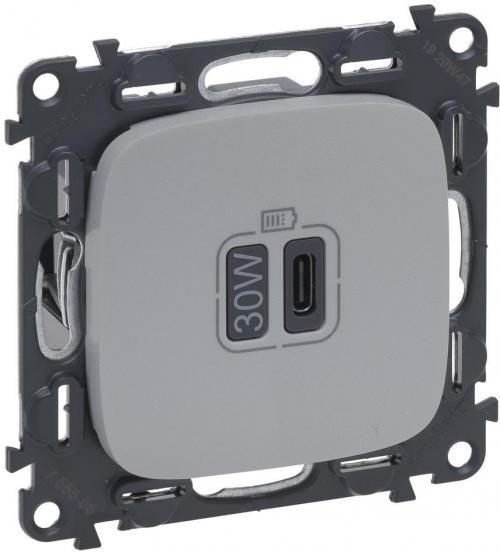 LEGRAND - Розетка USB за зареждане тип C Power Delivery 30W цвят Алуминий Valena Allure (комплект с механизъм) Legrand 755508