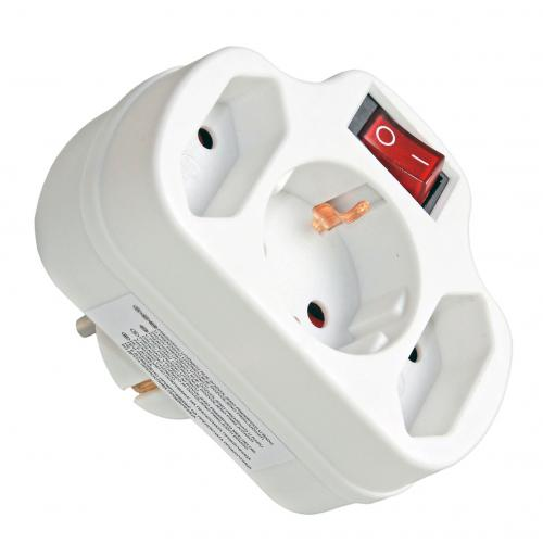 COmmel - Адаптер за контакт бял с ключ 2 х ЕВРО и 1 х шуко Commel  240-303
