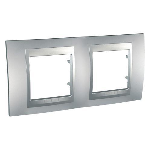 SCHNEIDER ELECTRIC - MGU6.004.30 Unica Top - cover frame - 2 gang - aluminium