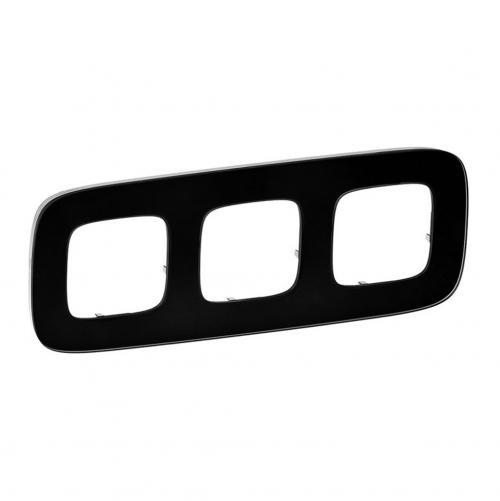 LEGRAND - Тройна рамка ALLURE 755533 черно стъкло