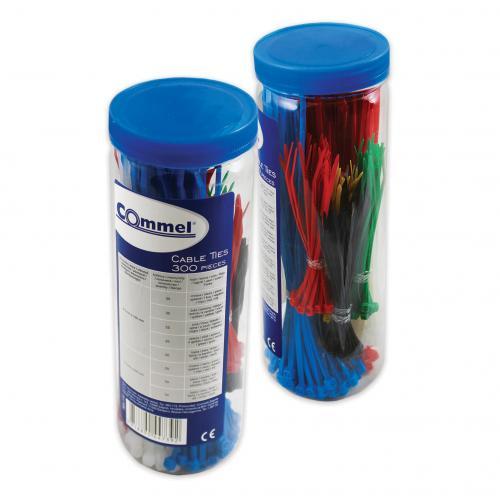 COmmel - Кутия с кабелни връзки цветни 100х2,5мм-150 броя и 200х3,5мм-150 броя Commel 365-172