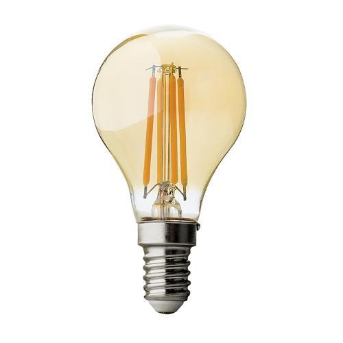 ULTRALUX - LFG41425D LED filament топка, димираща, 4W, E14, 2500K, 220V AC, амбър