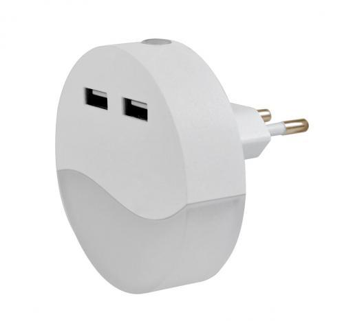 RABALUX - дежурна лампа за контакт  LILY 6804  фотосензор, LED 0,4W, 2 х USB