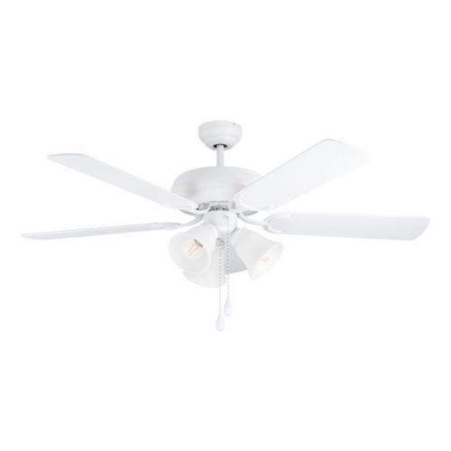 EGLO - Вентилатор със осветление AC 62W Ø1320/474+ 3xE27 бяла осн./дъб/бяло LAS PALMAS 35076