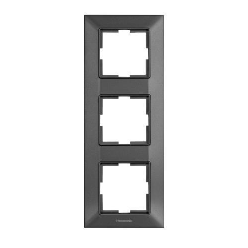PANASONIC - Рамка тройна вертикална тъмносиво PANASONIC Arkedia slim WNTF0813-2DG