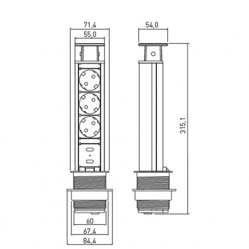 GTV Lighting - Контакт за вграждане в мебел сив AE-BPW3S60U-80 контакт тип шуко 3бр.+2хUSB 5V 2.1A