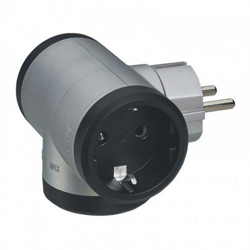 LEGRAND - 50664 Адаптор 3 гнезда T-образен за контакт тип шуко алуминий, черен