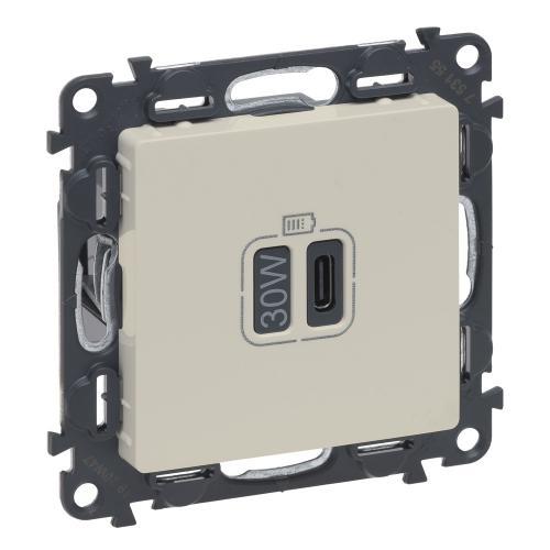 LEGRAND - Розетка USB за зареждане тип C Power Delivery 30W цвят крем Valena Life Legrand 753255