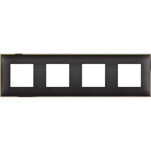 BTICINO - R4802M4BD cover plate - 2+2+2+2 horizontal/vertical installation modules - Black gold