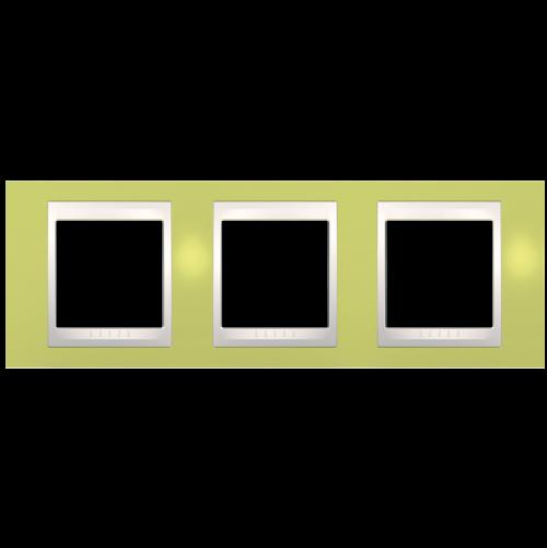 SCHNEIDER ELECTRIC - MGU6.006.563 рамка Unica Plus тройна ябълково зелен/слонова кост