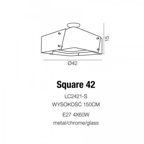 AZZARDO - Плафон SQUARE 42 LC2421-S