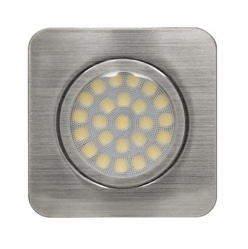 ULTRALUX - LMLS12342SN Мебелна светодиодна луна за вграждане, квадрат, 3W, 4200K, 12V DC, неутрална светлина, IP44, сатиниран никел