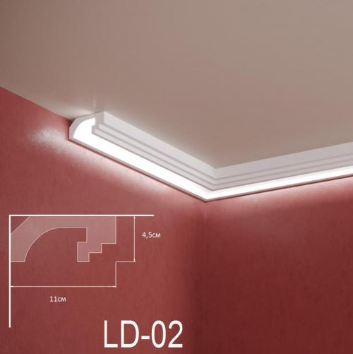 ADORN - Декоративен корниз за индиректно-осветление LD-02-2m 110х45 мм