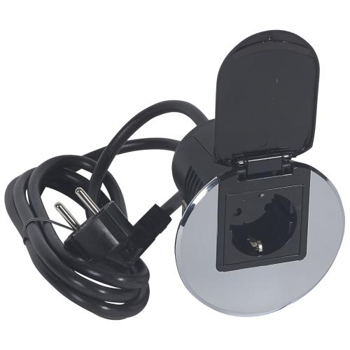 LEGRAND - 054082 Модул за бюро неръждаема стомана 1х 2P контакт + кабел
