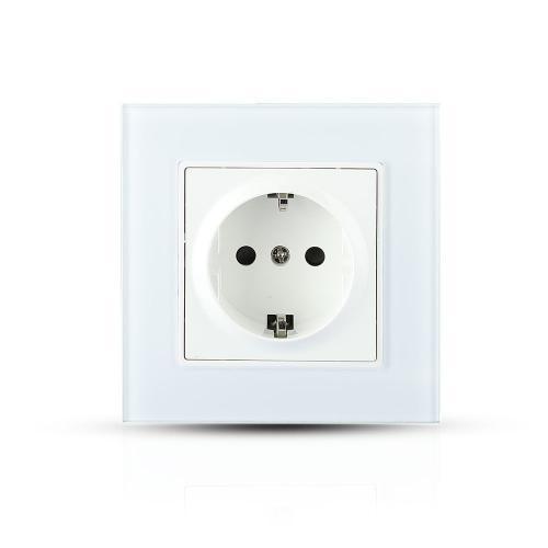 V-TAC - Единичен контакт бяло стъкло 16A SKU 8379 VT-5711