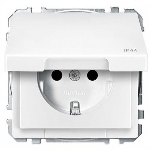 SCHNEIDER ELECTRIC - MTN2414-4019 Механизъм контакт шуко с лицев панел полярно бял IP44 Artec и Antique