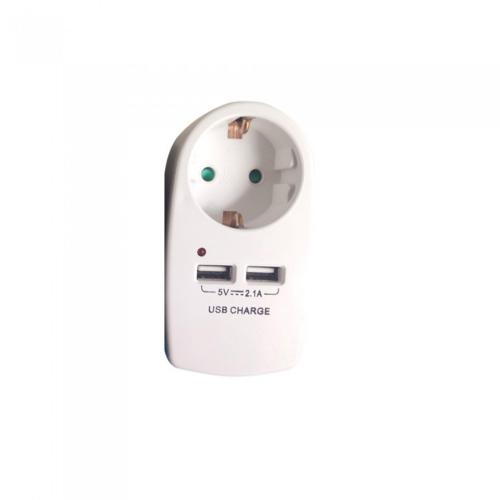 V-TAC - European Type Plug Adapter With Earthing Contact & Charging Interface White SKU: 8795  VT-1044