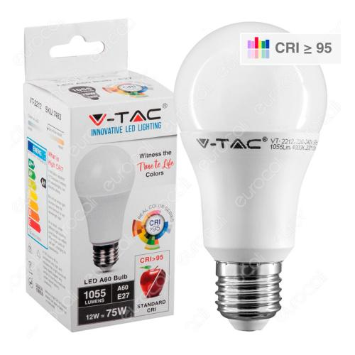 V-TAC - LED Крушка 12W E27 A65 4000K CRI 95+ SKU: 7483 VT-2212, 2700К-7482, 6400К-7484