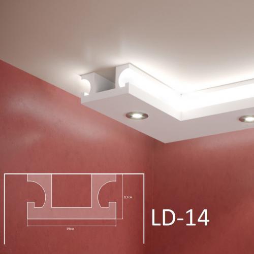 ADORN - Декоративен корниз за индиректно-осветление LD-14-2m 190х97 мм