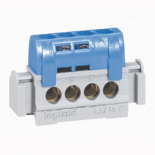 LEGRAND - Клема нулева изолирана 4х16мм2 синя 4840
