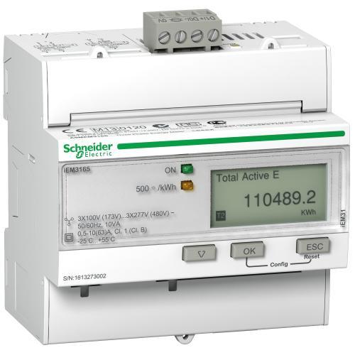 SCHNEIDER ELECTRIC - Електромер трифазен Acti 9 iEM 63A MID BACnet 1+1 I/O 5 мод. многотарифен A9MEM3165