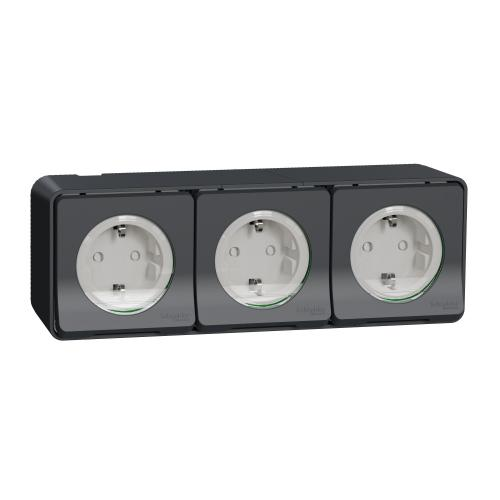 SCHNEIDER ELECTRIC - MUR36038 : Mureva Styl - socket-outlet - 16A - 2P + E - shutters - grey