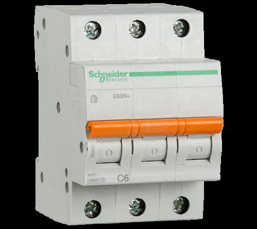 SCHNEIDER ELECTRIC - Автоматичен прекъсвач E60N+ 3P 6A крива C 6kA 20456