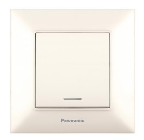 PANASONIC - Ключ единичен светещ Panasonic Arkedia Slim крем WNTC0002-2BG