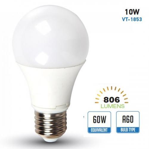 V-TAC - 4226 LED Крушка - 10W E27 A60 Термо Пластик 4500K