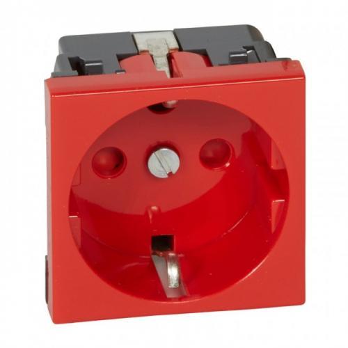 LEGRAND - 77214 Контакт ШУКО 16А с тампер защита 2 модула цвят червен