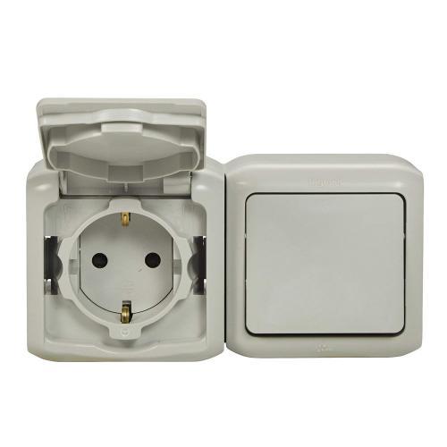 LEGRAND - 782391 Блок еднополюсен ключ с контакт шуко открит монтаж IP44 сив