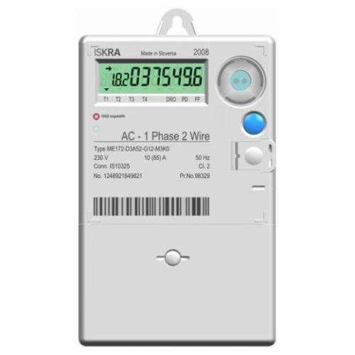 ISKRAEMECO - Монофазен електромер за ДИРЕКТНО мерене на ел. енергия, с RS485, до 4 тарифи, товаров график, 85A, MID Iskraemeco ME172