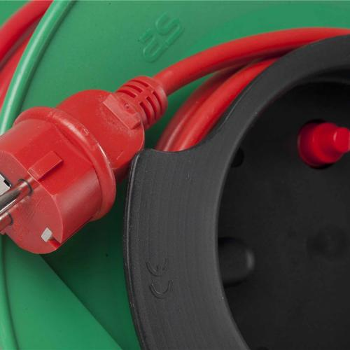 AS SCHWABE - Макара зелена 25м H05VV-F червен  кабел 3G1.5mm2 термична защита градинска 12323