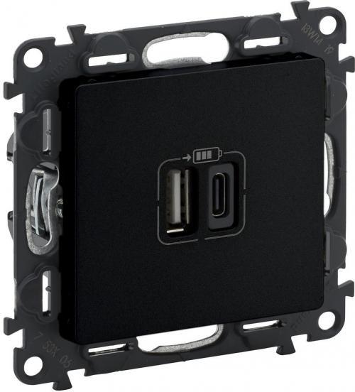 LEGRAND - Розетка 2хUSB за зареждане тип A+C 5V 3A 15W цвят Черен Valena Life 756306