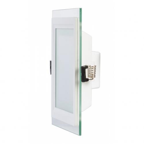 ULTRALUX - LPSG627 LED стъклен панел за вграждане, квадрат 6W, 2700K, 220V AC, топла светлина, влагозащитен IP44, SMD2835