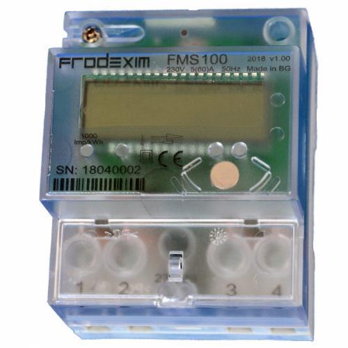 FRODEXIM - Монофазен мерител за ДИРЕКТНО мерене на ел. енергия, с RS485, eднотарифен, за DIN монтаж 4 мод, 60A  FMS100-12