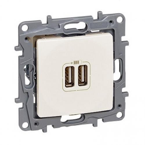 LEGRAND - 764694 Двоен USB контакт крем 2400mA 5V за зареждане