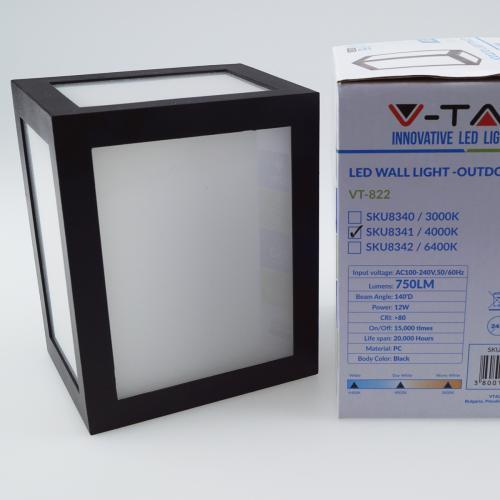 V-TAC -  12W LED Стенна Лампа 4000К Черно тяло SKU: 8341, 3000К-8340, 6400K-8342 VT-822