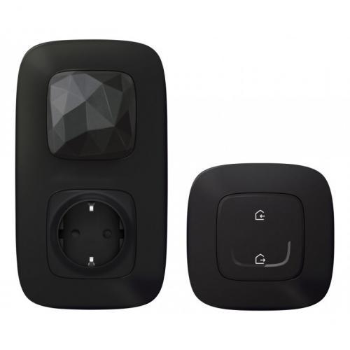 LEGRAND - Стартов пакет Smart Valena Allure Черно с Netatmo (Свързан контакт с Gateway + Master ключ безжичен) с рамки 752896