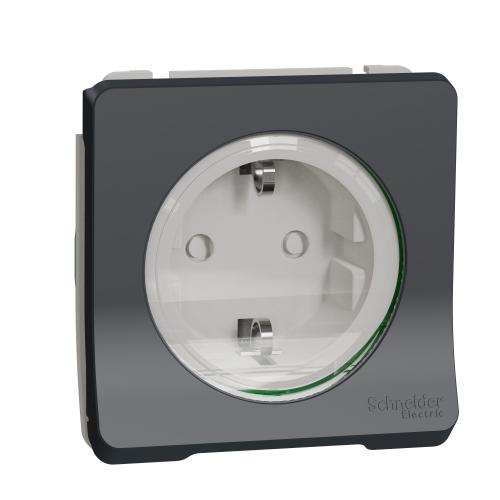 SCHNEIDER ELECTRIC - Контакт шуко 16А с детска защита механизъм IP55 автоматични клеми, антрацит MUR36134